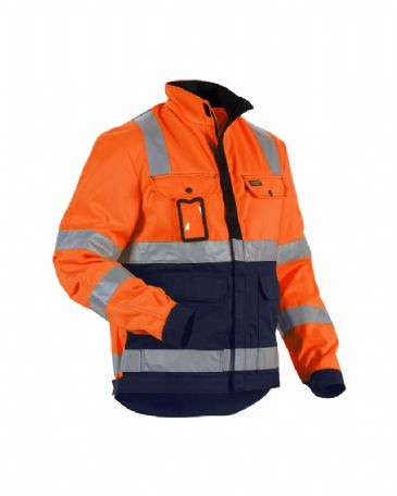 Blaklader 4023 High Vis Jacket (Orange/Navy Blue)